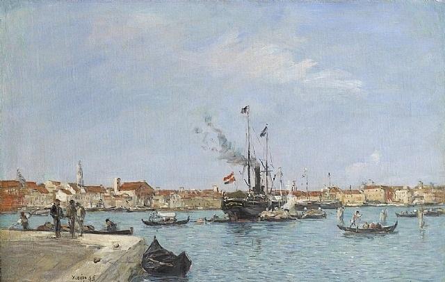 venise, le grand canal, prise de la douane by eugène boudin