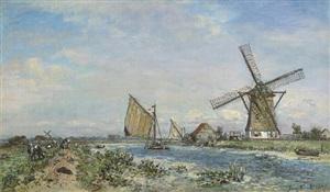 canal près de rotterdam, printemps by johan barthold jongkind