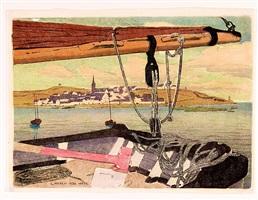 bretonisches dorf vom schiff aus by carl moser