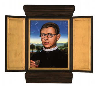 jean-paul sartre, after memling's potrait of a man with a coin of the emperor nero (bernardo bembo) by kehinde wiley