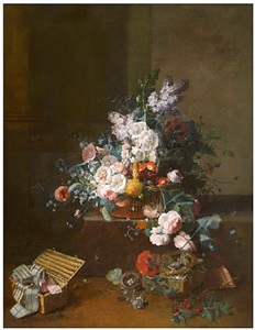 still life with a basket of flowers and a box of ribbons by jean louis prévost