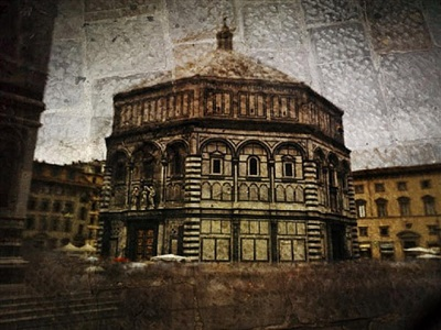 tent-camera image on ground: the florence baptistry by abelardo morell