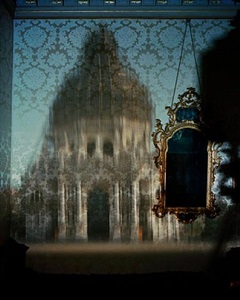 blurry upright camera obscura: santa maria della salute with scaffolding in palazzo bedroom by abelardo morell