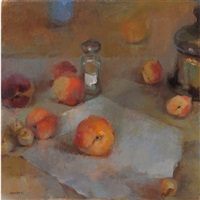 still life with shaker and peaches by tina ingraham