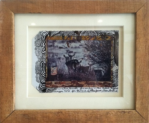 drawn on photo (waterbuck family) by peter beard