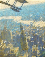 new york from a sea plane by everett longley warner