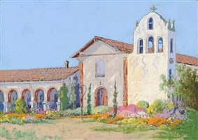 santa ynez mission in springtime by carl sammons
