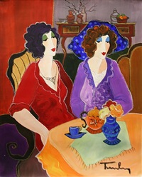 sisters at tea time by itzchak tarkay