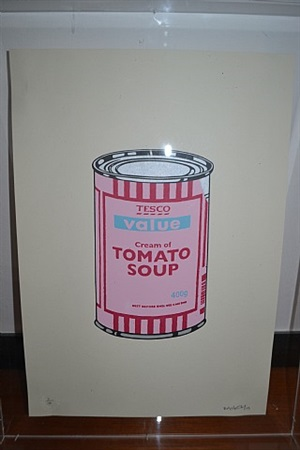 soup can pale pink / cherry / blue by banksy