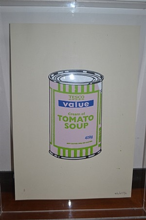 soup can pale lilac / lime / blue by banksy