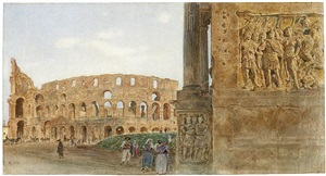 view of the coliseum from the arch of constantine, rome by rudolf von alt