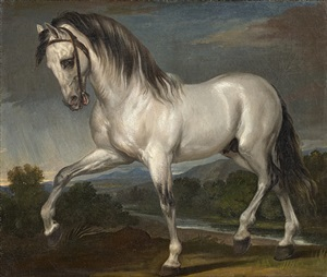 a grey stallion (study for the painting titled 'the entry of charles viii into florence') by giuseppe bezzuoli