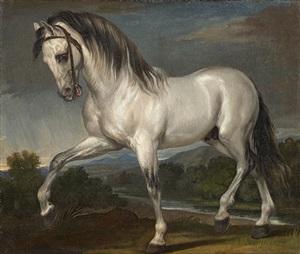 pferdestudie für das gemälde 'einzug karls viii. in florenz' /<br>a grey stallion (study for the painting titled 'the entry of charles viii into florence') by giuseppe bezzuoli