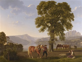 a ploughman with his horse, lake lucerne by johann jakob biedermann