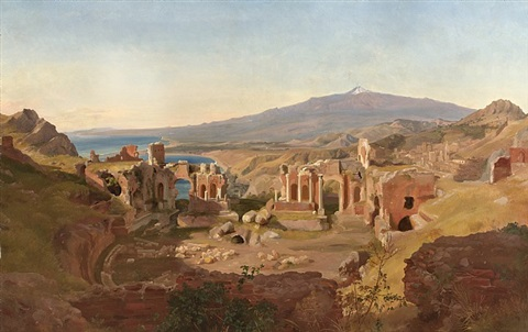 das antike theater von taormina /<br>the ancient theatre of taormina by carl maria nicolaus hummel