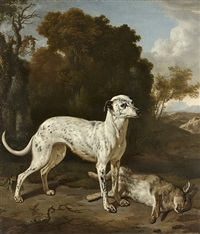 a greyhound with a hare by jan le ducq