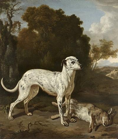 windhund und erlegter hase vor einer weiten landschaft /<br>a greyhound with a hare by jan le ducq