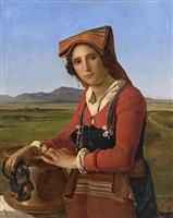 young woman from sonnino, rome by léopold-louis robert