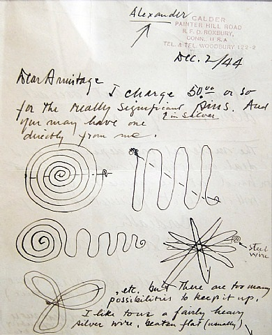 letter to kenneth armitage with 6 drawings for jewelry by alexander calder