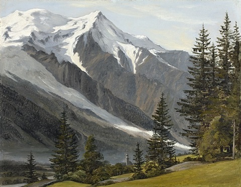 chamonix-mont-blanc with a view of the aiguille du goûter and the dôme du goûter by martinus christian wesseltopf rörbye