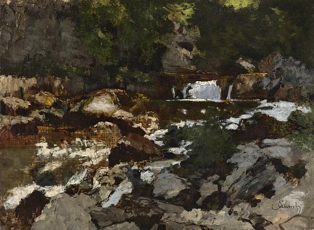 gebirgsbach mit wasserfall, saut du doubs /<br>mountain stream with waterfall, saut du doubs by carl schuch