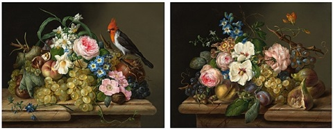 two flower still lifes by franz xaver petter