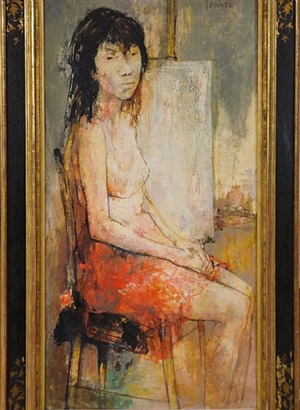 seated model at easel by jean jansem