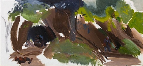 two woodsmen by ivon hitchens