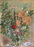 caraffa con fiori e lettera by filippo de pisis