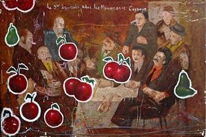 hombre sentado con cerezas cayendo by armando romero