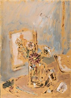caraffa con fiori e quadro by filippo de pisis