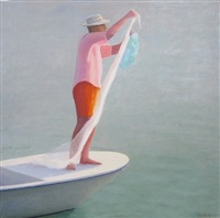 man in orange trunks by john beerman