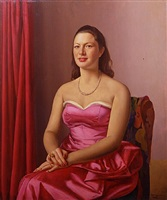giovane donna in rosso con filo di perle by ugo celada da virgilio