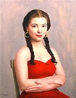 ragazzina in rosso con trecce e orecchini by ugo celada da virgilio