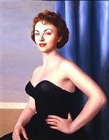 ritratto di donna in abito nero su fondo blu by ugo celada da virgilio