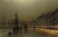greenock harbour by night by john atkinson grimshaw