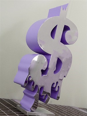 andy dollar sculpture in purple by gad berry