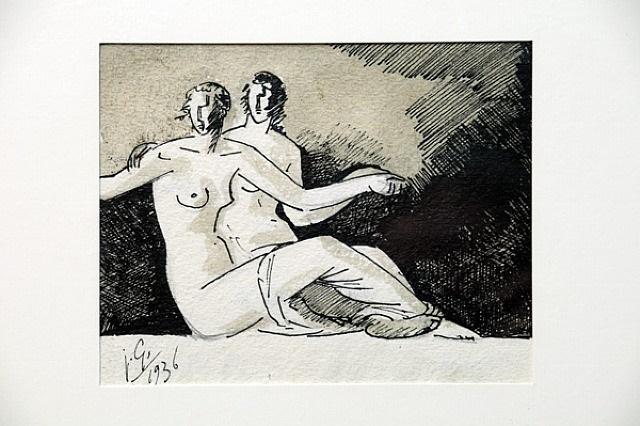 deux femmes nues assises by julio gonzález