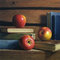 apples with antique books by michael naples