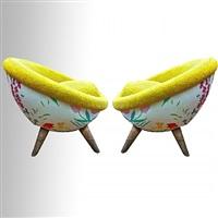 """pair of model """"oeufs"""" arm-chairs /paire de fauteuils modèle """"oeufs"""" by jean royère"""
