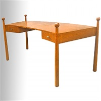 """exceptional curved desk model """"quille""""/exceptionel bureau modèle""""quille"""" incurvé en chene by jean royère"""