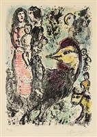 family with rooster by marc chagall