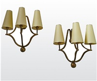 "pair of 3 lights sconces model ""cage""/paire d'appliques 3 lumieres modele ""cage"" by jean royère"