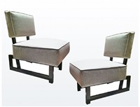 pair of andré sornay slipper chairs/paire de chauffeuses andré sornay by andré sornay