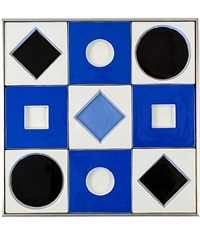 porcelain square relief by victor vasarely