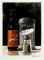 steak sauce, sugar shaker + pepper by ralph goings