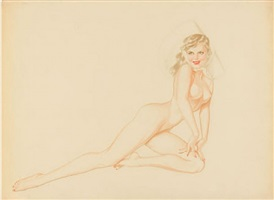 pin-up in sun hat by alberto vargas