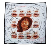 """#10 saalevolutyr de babyhumpty-dumpty's erzstoffkuscheltuch """"hermetik im blut"""" (kussmund der spocklogik) by jonathan meese"""