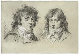 portraits du chanteur et comédien simon chenard (1758-1831), et du peintre françois pascal simon gérard (1770-1837), dit baron gérard by louis léopold boilly