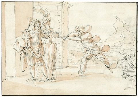 scene from: don juan, ou le festin de pierre by claude gillot
